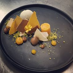 Chocolate & apricots......milk chocolate cream, dehydrated chocolate mousse , apricot ice, burnt honey , pistachios and yogurt sorbet #pastry#dessert#madronamanor