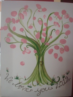 Stephanie's Shower, a friend painted a tree and we had everyone do a pink finger print for the leaves!