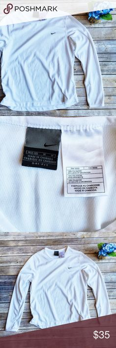 Nike White Dri-Fit Longsleeve Top ✨ ★ Like new condition!  ★ This white Nike dri-fit long sleeve top is super cute and perfect for spring and summer workout exercise activities  Get it now!  ★ 100% Polyester. ★ NO TRADES!   ★ NO MODELING!  ★ YES REASONABLE OFFERS! ✅ ★ Measurements available by request and as soon as possible.  Nike Tops