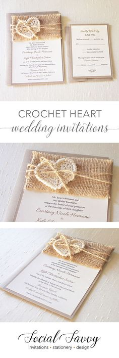 Handmade crochet hearts and burlap ribbon make this simple, rustic invitation so adorable! #rusticweddinginvitation #shabbychic #crochethearts #weddinginvitation #rusticinvitations #handmadeinvitations
