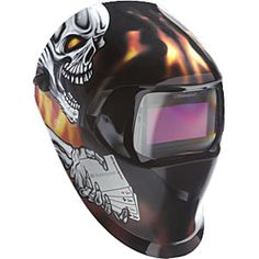 We saw one at the Company of Thomas' friend/Partner. Had even air filter connected to your back so you wont breath the smoke. 3m Speedglas Welding Helmet With Aces High Graphics / the hood I use as well