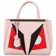 Fendi Petite 2Jours Monster Tote ($1,495) ❤ liked on Polyvore featuring bags, handbags, tote bags, red, leather purse, genuine leather tote, pink tote, leather tote bags and pink tote bag