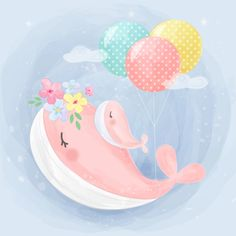 Mommy And Baby Whale Illustration Whale Illustration, Cute Animal Illustration, Watercolor Illustration, Graphic Illustration, Kids Vector, Vector Art, Vector Illustrations, Vector File, Vector Graphics