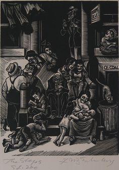 "Fritz Eichenberg. ""The Steps."" 1934. Wood engraving."