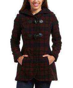 Look at this #zulilyfind! Brick & Black Plaid Wool-Blend Hooded Jacket #zulilyfinds