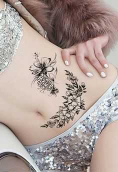 Body Painting and tattoos Posted by Sifu Derek Frearson Lower Stomach Tattoos For Women, Lower Belly Tattoos, Waist Tattoos, Hip Tattoos Women, Best Tattoos For Women, Back Tattoo Women, Wild Rose Tattoo, Rose Tattoos, Body Art Tattoos