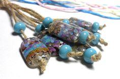 Lampwork.Glass bead handmade. Beads blue sky by Glasskaramelka