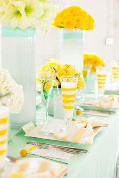 Mint + Yellow table design-- so pretty.