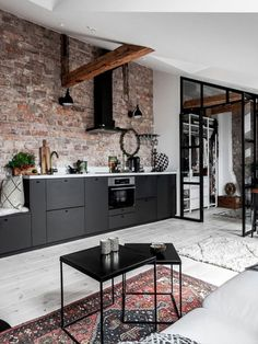 Loft Kitchen, Living Room Kitchen, Living Room New York, Student Home, Deco Studio, Style Loft, Industrial Apartment, Scandinavian Interior, Apartment Design