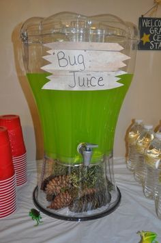 Bug Juice  2pks Lemon-Lime Kool-Aid 2C sugar (maybe 1C?) 46oz. Pineapple Juice 12oz frozen lemonade concentrate, thawed 1qt ginger ale
