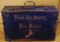 Witchcraft Primitive Witch Black Hat Society Purse Box Witches halloween Decorations goth Wicca White Magic Black Cats Spells samhain Props  by Halloweenwhimsy, $37.00