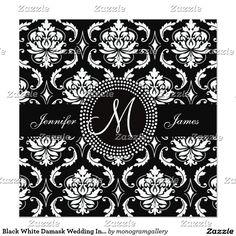 Black White Damask Wedding Invitations
