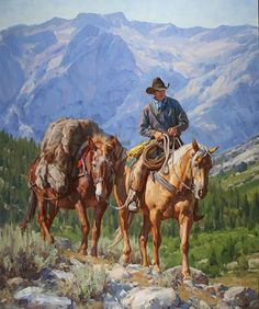 "Nearing the Pass ""Nearing the Pass"" von Jason Rich (Cowboy Artist) Cowboy Artwork, Cowboy Pictures, West Art, Ecole Art, Le Far West, Mountain Man, Equine Art, Horse Art, Native American Art"