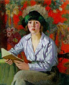 Jovem lendo, s/d Pierre Adolphe Valette (França, 1876-1942) óleo sobre madeira, 60 x 52 cm