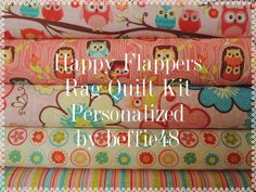Rag Quilt Kit, Happy Flappers Fabric in Pinks. Alll new cotton quilting fabric. White Flannel for middle and back is included. I Custom Personalize your