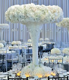 Wedding flower idea: white roses dripping with crystals. flowers ideas 12 Incredible Flower Arrangements You'll Want for Your Wedding Wedding Reception Flowers, Wedding Reception Centerpieces, Wedding Flower Arrangements, Flower Centerpieces, Wedding Table, Floral Arrangements, Wedding Decorations, Quinceanera Centerpieces, Table Centerpieces