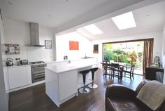 Terraced house for sale in Carlton Park Avenue, London - 29043634 Open Plan Living, Wooden Flooring, Kitchen Layout, Kitchen Designs, Kitchen Ideas, Home Kitchens, Property For Sale, Family Room, House Plans