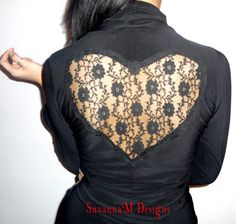 Black Blouse With Lace Heart On The Back  by SuzannaMDesigns, $62.00