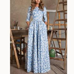 High-waist Long Sleeve Scoop Print Long Dress – Oh Yours Fashion