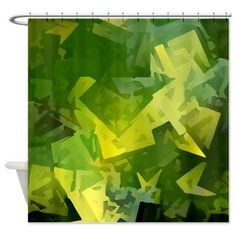 Green and Yellow Geometric Shower Curtain