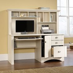 Computer Desk With Hutch: Antiqued White Finish | Sauder