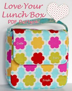 This is a PDF pattern that will come directly to your email.You will receive a link to download the pattern in your email as soon as you complete your order. Start sewing right away! This is a darling little lunch box designed for elementary school students. It features a boxy shape, side pockets,