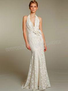 White A-Line Bridal Gown Halter Neckline Dress