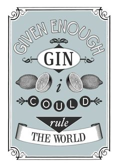Kitchen Print Gin Poster Blue Wall Art Gift for by oflifeandlemons