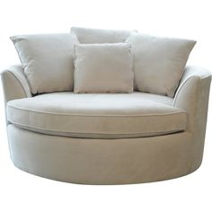 Create your own comfort zone with the Cuddler chair. This oversize round chair comfortably fits two people. Covered in a durable microfiber fabric for years of enjoyment. Make sure to measure before ordering. Chair And A Half, Swivel Barrel Chair, Swivel Armchair, Recliner, Modern Armchair, Modern Sofa, My Living Room, Living Room Chairs, Dining Chairs
