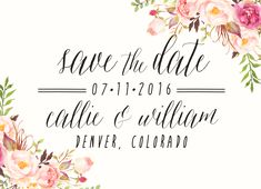 Watercolor Calligraphy Save the Date // Floral // Boho Garden Wedding - lovely for Spring or Summer weddings!