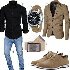 Business-Outfit mit beigem Sakko, Schuhen und Gürtel (m0956) #amaci #hemd #maserati #sakko #jeans #outfit #style #herrenmode #männermode #fashion #menswear #herren #männer #mode #menstyle #mensfashion #menswear #inspiration #cloth #ootd #herrenoutfit #männeroutfit