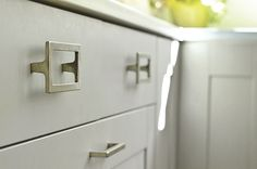 Karen splurged on designer cabinet hardware, giving her IKEA cabinetry a more personal touch