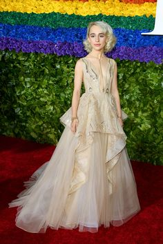 Rising Star Sophia Anne Caruso Wows on Tony Awards 2019 Red Carpet!: Photo Sophia Anne Caruso has a big fashion moment on the red carpet at the 2019 Tony Awards on Sunday (June at Radio City Music Hall in New York City. Celebrity Red Carpet, Celebrity Look, Celebrity Dresses, Celebrity Weddings, The Cher Show, Nice Dresses, Flower Girl Dresses, Ivory Dresses, Long Dresses