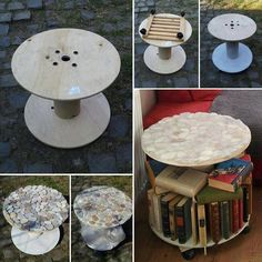 Fan, Béa Masutti, sent this image showing the work of Manuela Zaitz. Beats the heck out of turning it into landfill, doesn't it? You'll find MANY great recycling projects on our site at theownerbuilderne. Recycled Crafts, Diy Crafts, Spool Tables, Cable Reel, Cable Drum, Wooden Spools, Wire Spool, Cool Art Projects, Cool Inventions