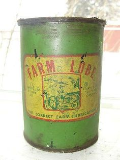 ANTIQUE TIN CAN,FULL NEVER OPENED .  SAYS FARM LUBE, THE CORRECT FARM LUBRICATION.