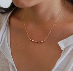 "Timeless yellow, white and rose gold necklace. Available on etsy.com from the shop ""jennijewel"""
