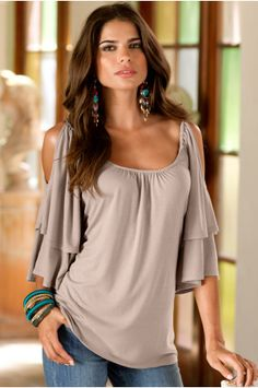 Boston Proper Cold-shoulder peasant top