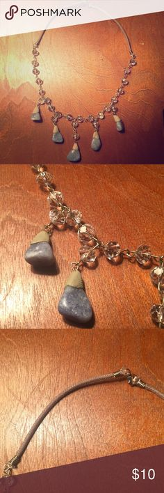 Stone necklace Only worn once. Not sure what type of stones these are! Blue stones and clear beads. Jewelry Necklaces