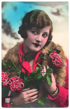1920 Vintage Photo Postcard Flapper in Red  by VintageToAntiquity, $3.50