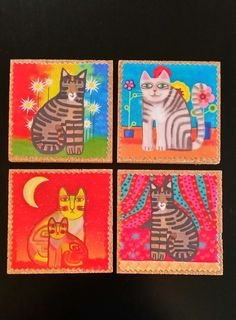 Cork Coaster Cats Set of four, colorful home decor, Free Ship in US, drinkware, bar ware, gift for cat lover, housewarming, hand made by BrumbleBerryBoutique on Etsy