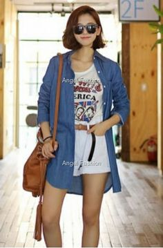 Casual Denim Long Top with Pocket - RM28