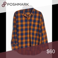 Madewell plaid flannel blouse Comfortable soft flannel, this nice plaid shirt is soft inside and out. A fresh cropped take on a button-down, It can be  worn-with-jeans staple you'll curl up in all season. Cropped fit. 100% Cotton. Machine wash. Madewell Tops Button Down Shirts