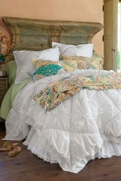 Love what they used for a headboard!  So Rustic.  Des Fronces Comforter from Soft Surroundings