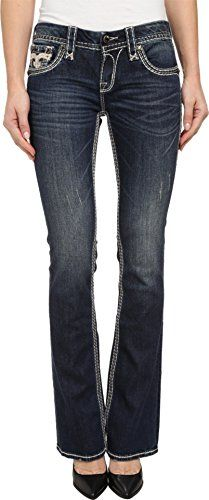 Rock Revival Women's Royal B200 Back Pocket Detailed Boot Cut Jean   Rock Revival Women's Royal B200 Back Pocket Detailed Boot Cut Jean Indigo wash featured on stretch cotton. Hand sanding and whiskers create a striking contrast. Stunning embroidery in the signature fleur-de-lis design at the coin and back pockets. Contrast topstitching. Brushed branded hardware. Classic five-pocket construction. Belt-loop waist band. Brand logo patch at back waist. Zipper fly and button closure. 98%..