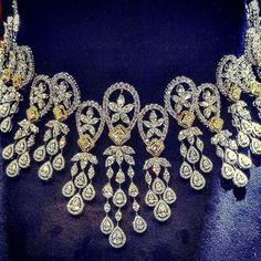 Yellow and white diamond choker necklace