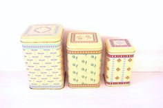 Lot of 3 Small Nesting Canisters, Housewares Box Container, Vintage Tins, Kitchen Canister Set by LizzieTishVintage on Etsy