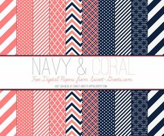 Just Peachy Papers: Free Navy and Coral Digital Paper Set (direct link)