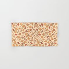 Autumn Leaves Hand & Bath Towel #faerieshop #illustration #drawing #fall #autumn #berry #rowan #leaves #pattern #bright #red #branch #seamless #gray #season #foliage #painting #contour #acorns #maple #sycamore #birch #beech #oak #sketch #tree #line #nature #art #sale #society6 #bathroom #decor #decoration #towel