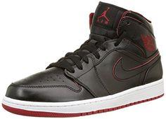 d37bd784333 Nike Men s Air Jordan 1 Mid Black Black White Gym Red Basketball Shoe -  D(M) US An encapsulated Air sole unit for lightweight cushioning Jordan  Wings logo ...