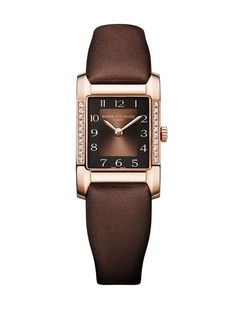@Baume & Mercier Hampton, red gold, satin strap quartz, brown & black dial. £ 6,300.